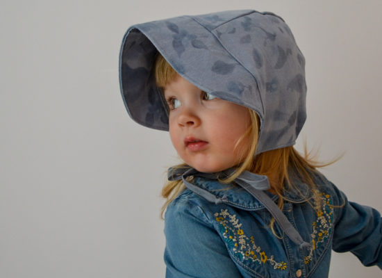 dusty blue brimmed bonnet